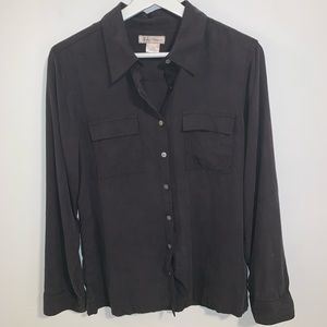 Tommy Bahama M 100% silk black button up shirt